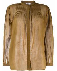Closed Pleat-detail Cotton Blouse - Brown