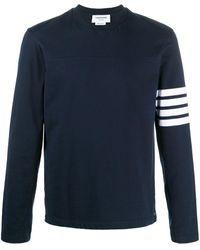 Thom Browne Cotton Crewneck Sweater - Blue