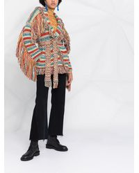 Alanui Fringed Intarsia-knit Cardigan - Brown