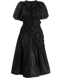 Simone Rocha Ruched Flower Dress - Black