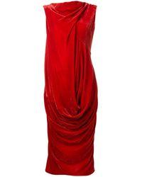 Rick Owens Larry Velvet Slash Neck Ellipse Dress - Red