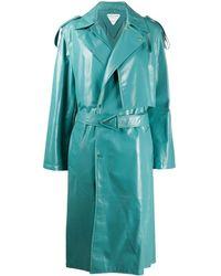 Bottega Veneta Leather Trench Coat - Blue