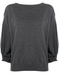 Fabiana Filippi 3/4 Sleeves Boat-neck Pullover - Gray