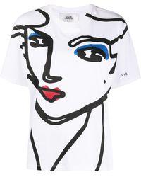 Victoria, Victoria Beckham Face Print Crew Neck T-shirt - Multicolor