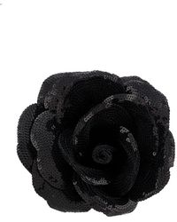 Saint Laurent Sequin-embellished Rose Brooch - Black