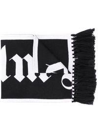 Palm Angels Logo-jacquard Fringed Scarf - Black