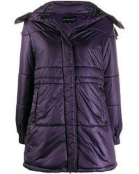 Emporio Armani Single-breasted Hooded Coat - Purple