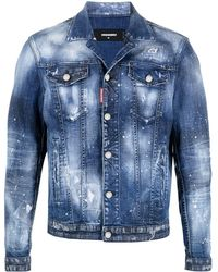 DSquared² Paint-splatter Denim Jacket - Blue