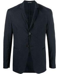 Emporio Armani Textured Single-breasted Blazer - Blue