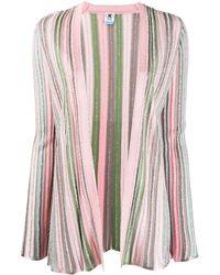M Missoni Textured Striped Knit Cardigan - Pink