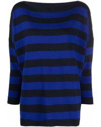 Daniela Gregis Slouchy Striped Wool Sweater - Black