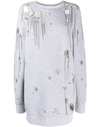 Faith Connexion Long Ripped Sweatshirt - Grey