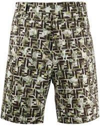 Fendi Logo Print Bermuda Shorts - Green