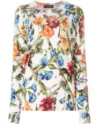 Dolce & Gabbana - Flowers Print Silk Blouse - Lyst
