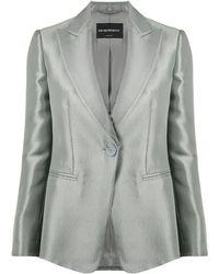 Emporio Armani Metallic One-button Blazer - Green