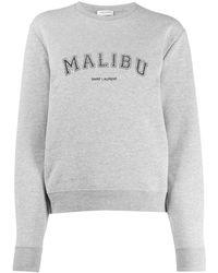 Saint Laurent Malibu Crew Neck Sweatshirt - Grey
