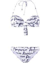 Emporio Armani Hand Written Logo-print Underwired Bikini - White