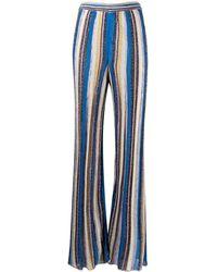 M Missoni Striped Wide-leg Trousers - Blue