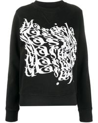 Maison Margiela Logo Print Crew Neck Sweatshirt - Black
