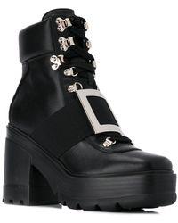 Roger Vivier Vi Utility Leather Boots - Black