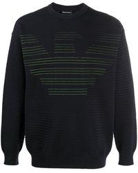 Emporio Armani Stitched Logo Sweater - Blue