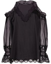 Ermanno Scervino Lace Cold-shoulder Blouse - Black