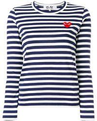 COMME DES GARÇONS PLAY Logo Striped Crewneck Tee - Blue
