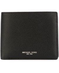 Michael Kors Portafoglio saffiano a libro orizzontale con logo stampato - Nero
