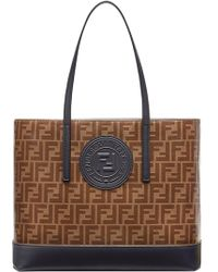 145e9358db Fendi - Brown And Black Forever Shopper Tote - Lyst