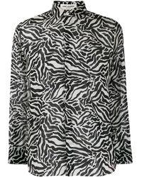 Saint Laurent Zebra-print Long-sleeved Shirt - White