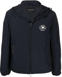 Emporio Armani Logo Zipped Hooded Jacket - Blue