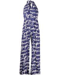 Emporio Armani Signature Logo Print Jumpsuit - Blue