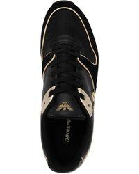 Emporio Armani Metallic-panelled Sneakers - Black