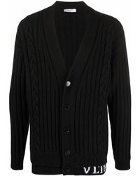Valentino Intarisa-knit Logo Cardigan - Black