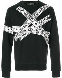 DSquared² - Logo Tape Print Sweatshirt - Lyst