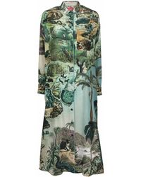 F.R.S For Restless Sleepers Graphic-print Maxi Shirt Dress - Green