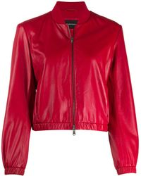 Emporio Armani Leather Caban Jacket With Zipper - Red