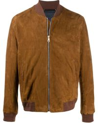 Paul Smith Suede Bomber Jacket - Brown