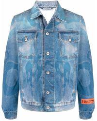 Heron Preston Graphic-print Denim Jacket - Blue