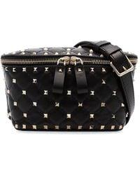 dcb8f3fcef8 Valentino Rockstud Spike Calf Hair Belt Bag in Black - Lyst