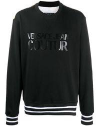 Versace Jeans Couture Contrast Baroque Logo Print Sweatshirt - Black