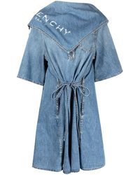 Givenchy Distressed Scarf Detail Shirtdress - Blue
