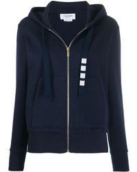 Thom Browne Zip Up Hoodie In Compact Double Knit Cotton With 4-bar Twill Drawcord - Blue