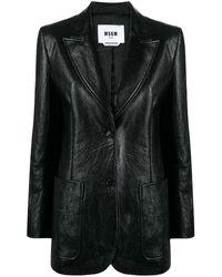 MSGM Leather-effect Blazer - Black