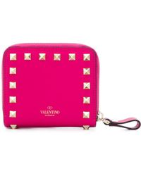 Valentino - Rockstud Leather French Wallet - Lyst