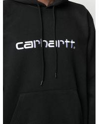 Carhartt Logo Cotton Hoodie - Black