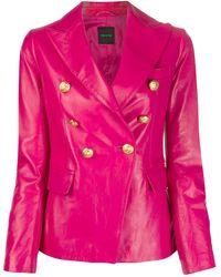 Tagliatore Lizzie Embossed Button Blazer Jacket - Pink