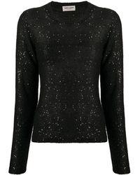 Saint Laurent Sequin Loose Knit Sweater - Black