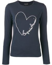 Emporio Armani - Embroidered Heart Longsleeved T-shirt - Lyst