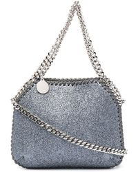 Stella McCartney Borsa tote Falabella micro con glitter - Blu